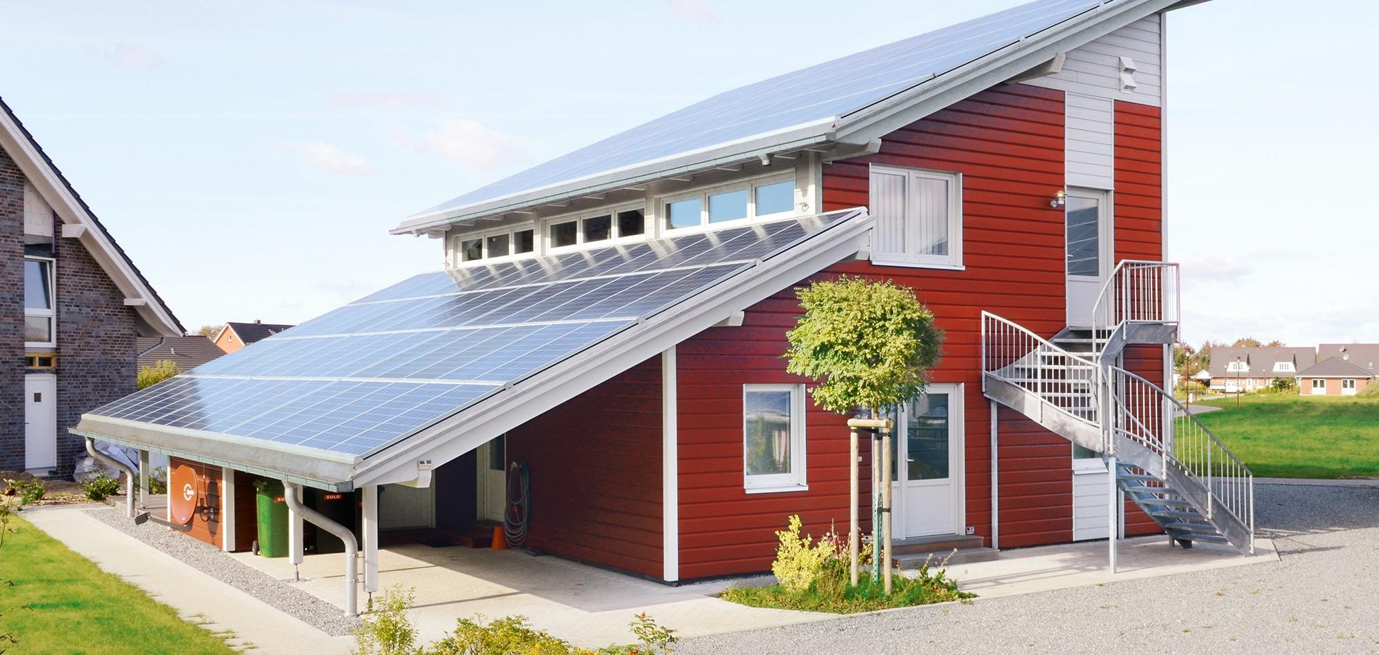 Holzhaus Modulbauweise pultdach solarhaus holzhäuser zimmerei richardsen langenhorn